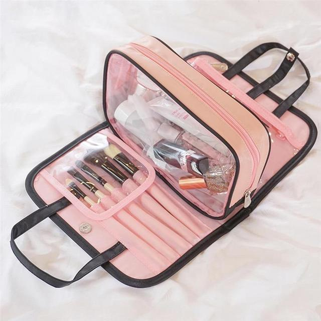 Multifunctional 2 in 1 Portable Makeup Bag Handbag Women Female Beauty Waterproof Cosmetic Pouch Organizer Toiletry Bag Tote Cosmetic Bags