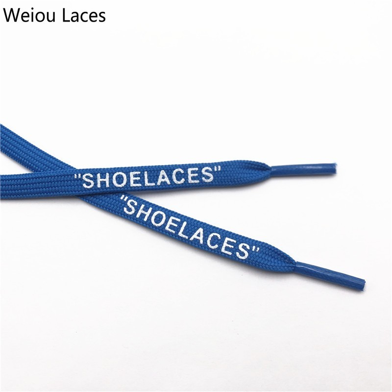 Weiou Brand Off White Flat Polyester ShoeLaces Printing SHOELACES Green Orange OW Signed Jointly Running Shoetrings Custom