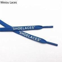 "Купить с кэшбэком Weiou Brand Off White Flat Polyester ShoeLaces Printing ""SHOELACES"" Green Orange OW Signed Jointly Running Shoetrings Custom"