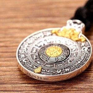 Image 4 - ZABRA prawdziwe 24k złoto i 999 Sterling Silver Buddhim wisiorek mężczyźni kobiety dobre znaczenie prezent HipHop człowiek Vintatge naszyjnik biżuteria