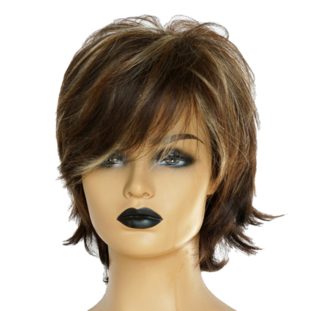 Natural Short Curly Wigs Human Hair Pixie Cut Wig for Women w Bangs 12 inch Chic