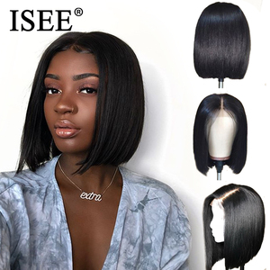 Image 2 - Straight Bob Lace Front Wigs Pre Plucked Hairline ISEE HAIR Short Human Hair Wigs Brazilian Straight Blonde 613 Lace Front Wigs