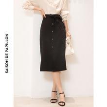Summer Solid High Waist Slit knitted skirts ove-knee length Single-breasted skirt slim thin knitting Skirt mujer G339 недорого