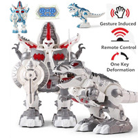 Remote Control Dinosaur Transformer Robot Walking Robot with Song Light RC Animal Toys Intelligent Dinosaur Robot Children Gifts