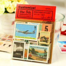 5 bags/lot (90 pieces) DIY Vintage Retro Classic Paper Travel Stamp Stickers for Decoration Scrapbooking Gifts Free shipping 421