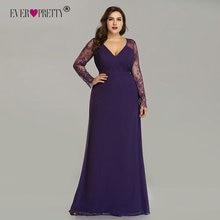 エレガントなプラスサイズウエディングドレス 2020 新しい以来プリティパープルロングスリーブレースaラインシフォンロングパーティーガウンローブド · ソワレ