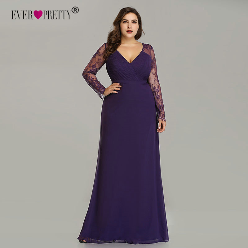 Elegant Plus Size Prom Dresses 2019 New Ever Pretty Purple Long Sleeve Lace A-line Chiffon Long Party Gowns Robe De Soiree
