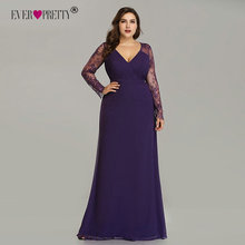 Elegant Plus Size Prom Dresses 2020 New Ever Pretty Purple Long Sleeve Lace A line Chiffon Long Party Gowns Robe De Soiree