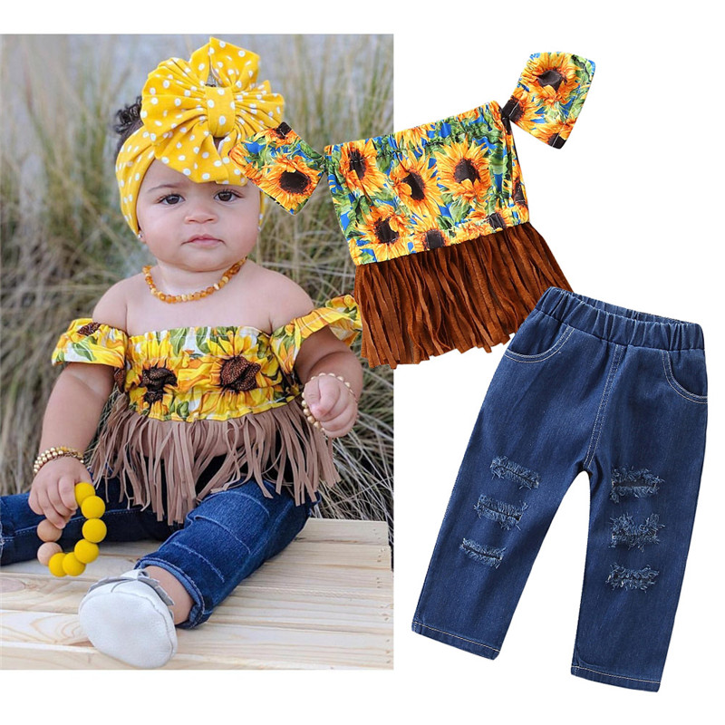 2PCS Kids Baby Girl Crop Tops Long Pants Trousers Outfits Clothes Summer 1-5Y
