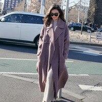 LANMREM 2018 High Quality New Fashion High Vent Hem Loose Large Size Woolen Jackets Autumn Fashion Women's X long Coat YF37314