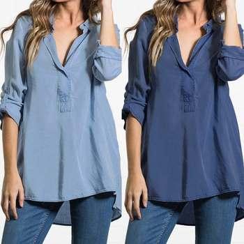 7aeeafd68073929 Cellia 2019 Весенняя женская блузка Сексуальная С v-образным вырезом и длинным  рукавом повседневные свободные