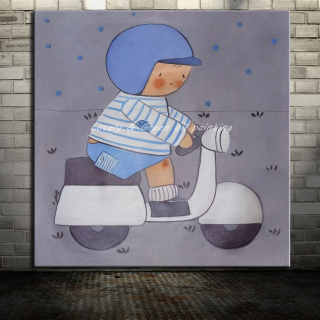 Hand Painted Open Electric Car Boy Cartoon Oil Painting On Canvas Modern Abstract Wall Art For Children Room Decor Children Gift