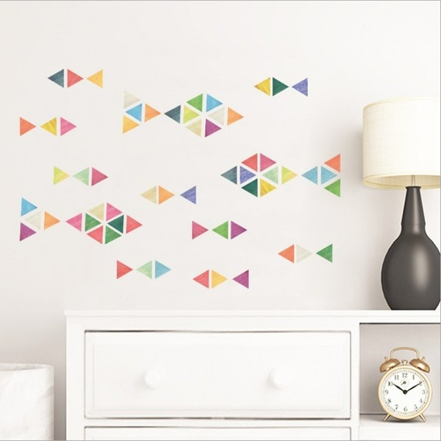 Nordic Style Waterproof Removed PVC Triangle Wall Stickers For Baby Kids Room Nursery Decoration 2 Size 7 Color Choose
