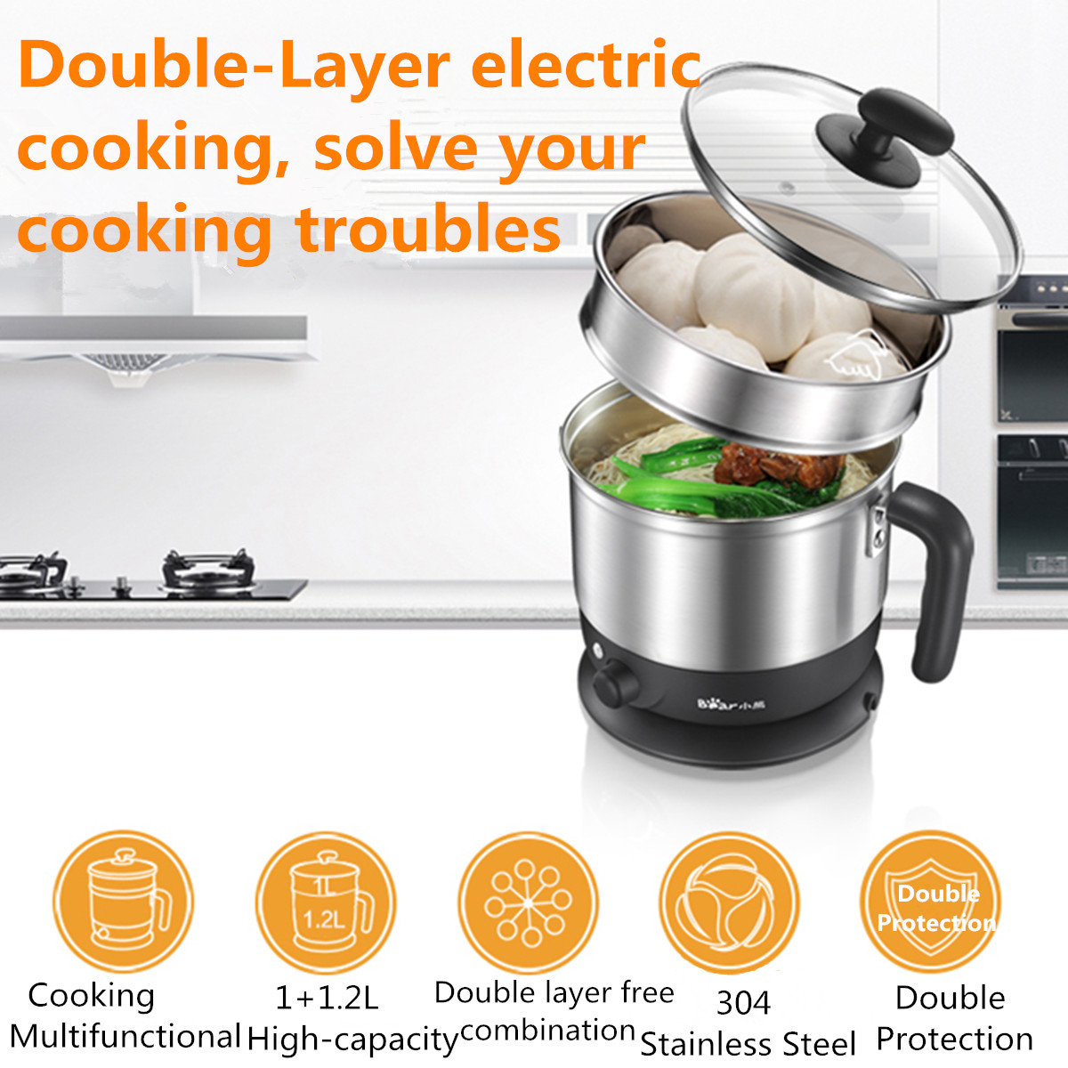 600W 2L Multi-function Electric Boiler Skillet Noodles Rice Cooker Thermal Double Layer Stainless Steel  Insulation Cooking Pot600W 2L Multi-function Electric Boiler Skillet Noodles Rice Cooker Thermal Double Layer Stainless Steel  Insulation Cooking Pot