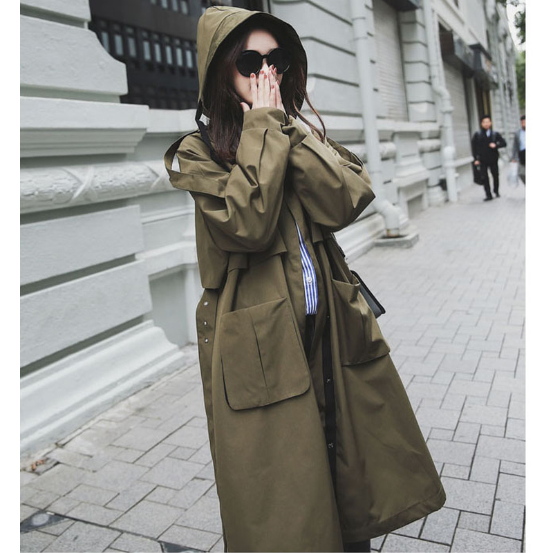 New Fashion 2019 Spring Autumn Women Casual Oversized Large Pockets Loose Trench Coat Chic Female Windbreaker Trench Coats