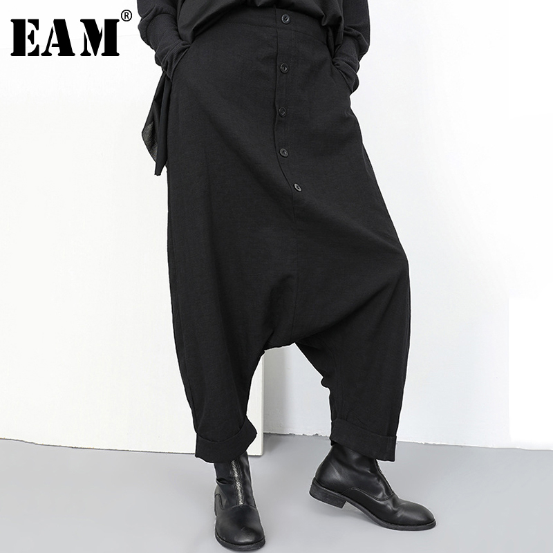 [EAM] 2020 New Autumn Winter High Elastic Waist Black Button Split Joint Wide Leg Long Loose Pants Women Trousers Fashion YG2