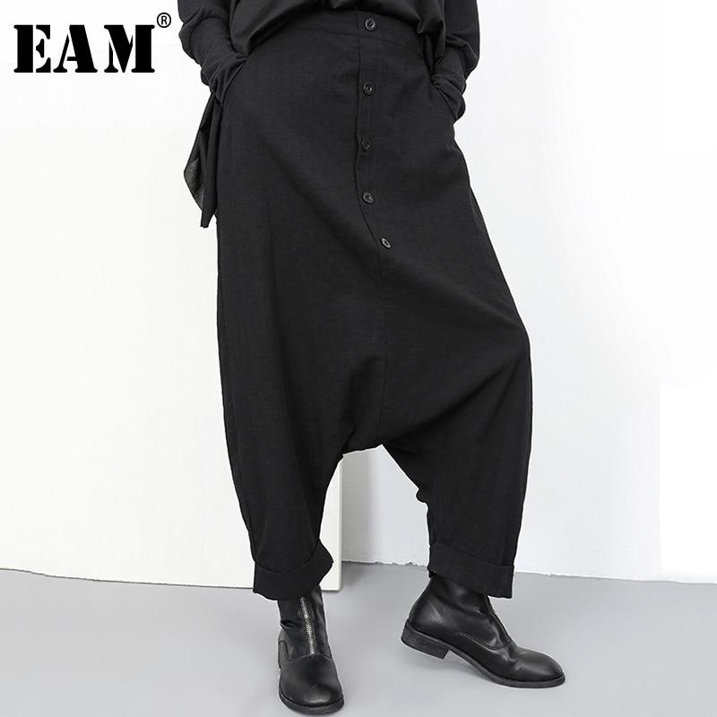 [EAM] 2020 New Spring Autumn High Elastic Waist Black Button Split Joint Wide Leg Long Loose Pants Women Trousers Fashion YG2