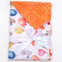 Muslinlife Infant Baby Flannel Receiving Blanket Newborn Baby Girls Balloon Print Blanket Soft Minky Dot Blanket Wrap