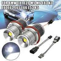2X 40W Car LED Angel Eyes Marker Halo Ring Light Lamp H8 Bulb 63126916097 For BMW 1 5 6 7 E39 E60 E61 E63 E64 E65 E66 E83 E87