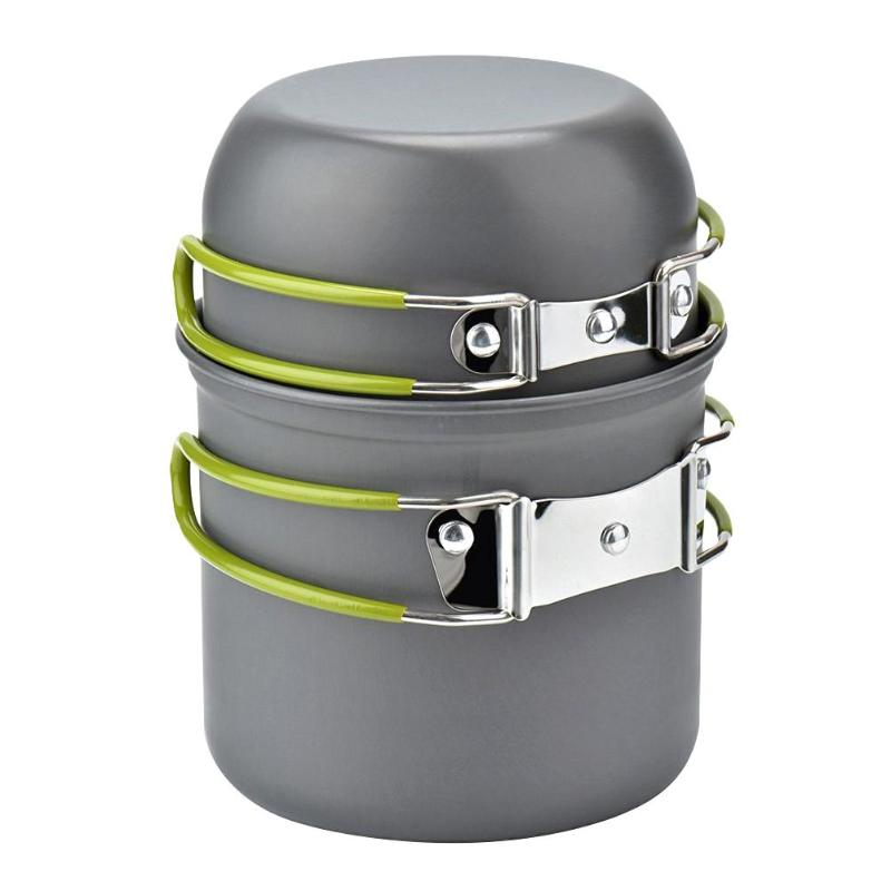Outdoor Camping Cookware Set Portable Tableware Cooking Travel Cutlery Utensils Pot Pan Hiking Picnic Tools Green Handle Pot