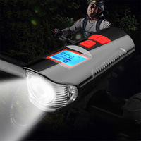 Waterproof Bicycle Computer With Light USB Charging Bike Front Light Flashlight Handlebar Cycling Head Light w/ Horn Speed Meter