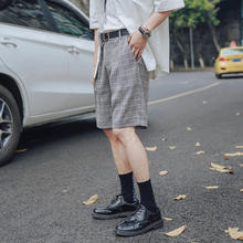 MMen's Pants 2019 Summer New Wild Casual Five Pants Youth Popular Basic Color Five Points Plaid Shorts Casual Men's Clothing