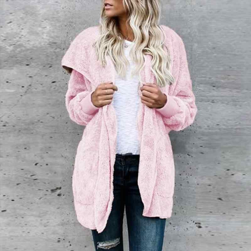 겨울 여성 두꺼운 따뜻한 솔리드 컬러 코트 패션 여성 브이 넥 가짜 모피 양털 재킷 캐주얼 솜털 후드 카디건 코트