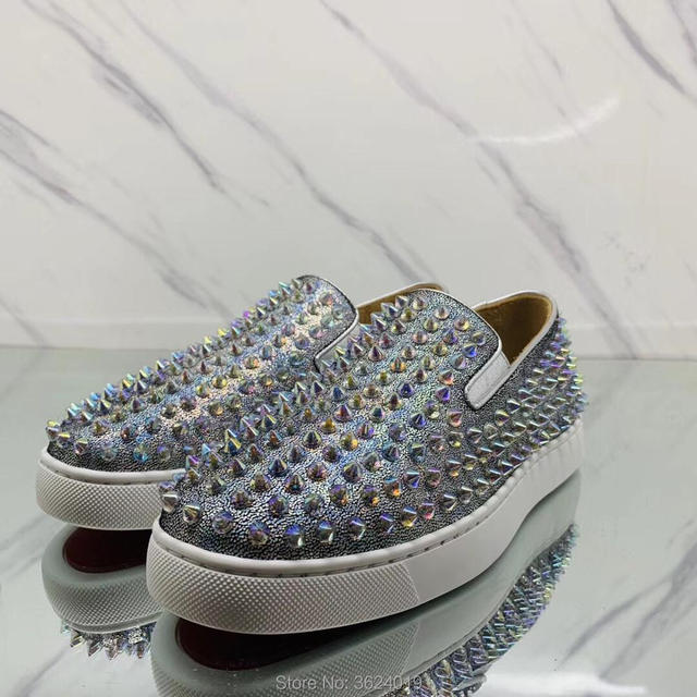 177689c3255 Low cut cl andgz leather Snake Python purple Transparent Rivet Round Toe  Slip on Red bottoms For Man Shoes Sneakers casual Flat