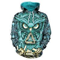 Hoodie das mulheres Hoodies Impressão Coruja Azul 3D com Chapéu Mulheres Pullover Solta Camisola Sudaderas Mujer Casal Moletom Roupas