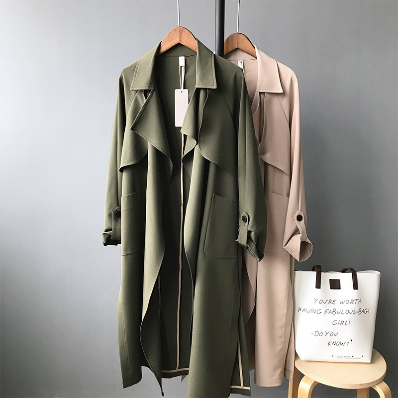 Spring Thin Women   Trench   Coat Long Windbreaker Khaki Green Red Trend Cardigan Slim Long   Trench