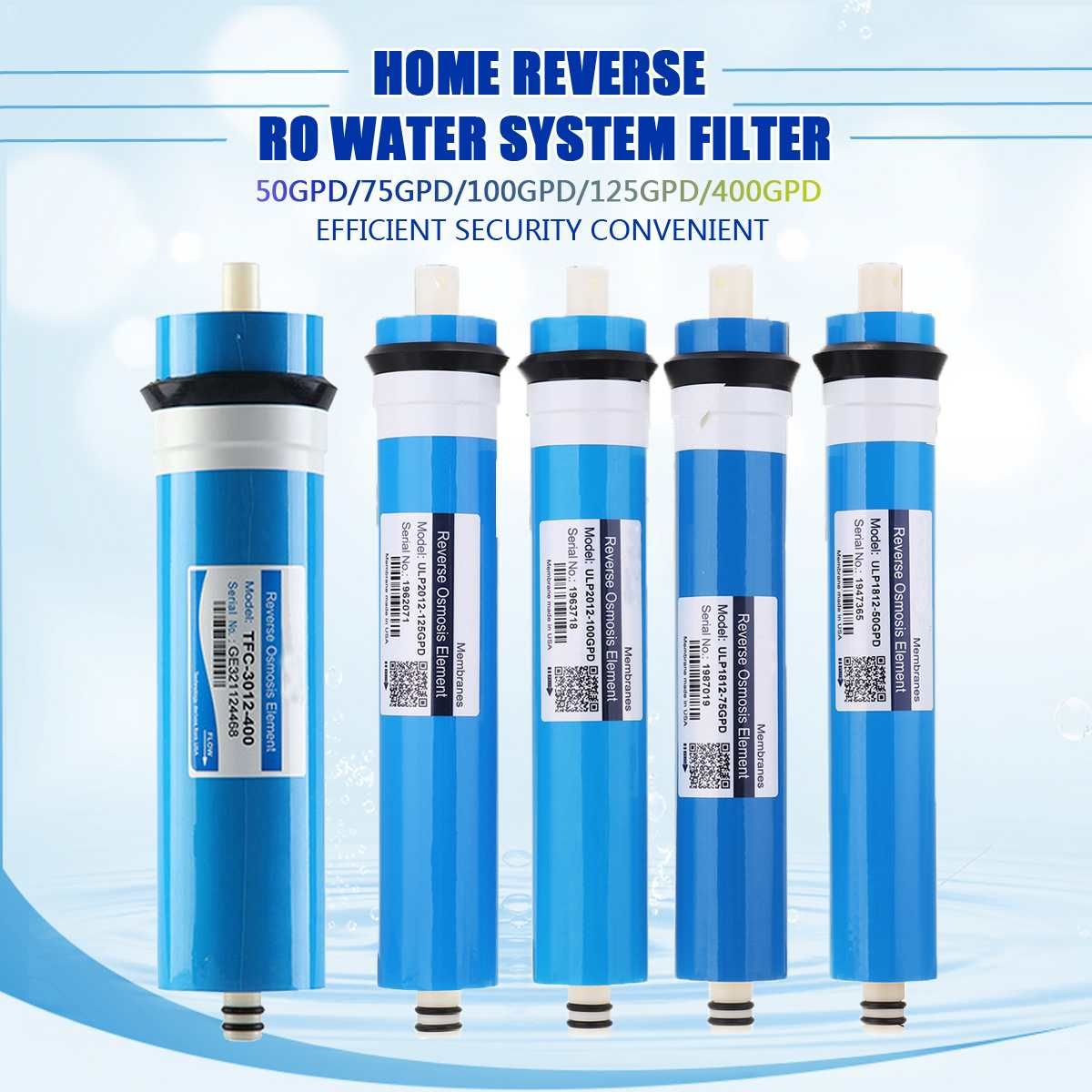 50/75/100/125/400GPD Home Kitchen Reverse Osmosis RO Membrane Replacement Water System Filter Purifier Water Drinking Treatment