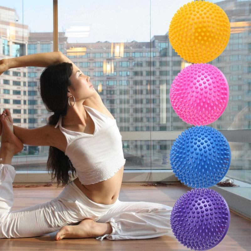 ①  Йога Половина мяча Физическая Фитнес-Прибор Упражнения Баланс Шариковая Массаж Ступеньки GYM Yoga Ba ①