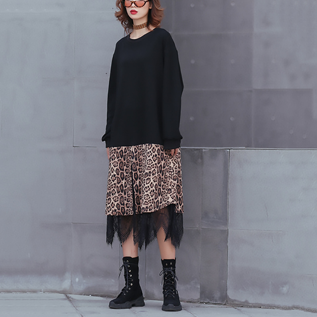 [EAM] 2019 New Spring Winter Round Neck Long Sleeve Black Hem Leopard Lace Large Size Thick Dress Women Fashion Tide JK869 2