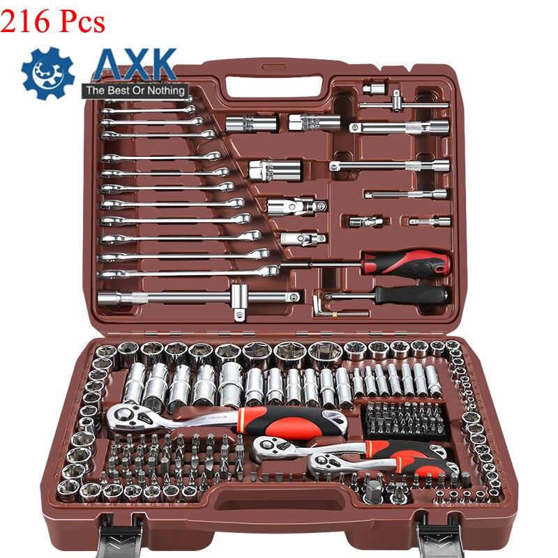 AXK 216 pièces 72 dents multifonctionnel manchon douille clé à cliquet Kit de réparation automatique voiture outil de réparation combinaison ensemble outils à main