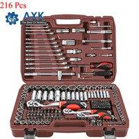 AXK 216Pcs 72 Teeth Multifunctional Sleeve Bushing Ratchet Wrench Auto Repair Kit Car Repair Tool Combination Set Hand Tools