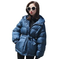 Fashion blue tight waist thick down cotton jacket 2018 winter jacket coat women Plus size hooded warm Female Padded overcoat 129