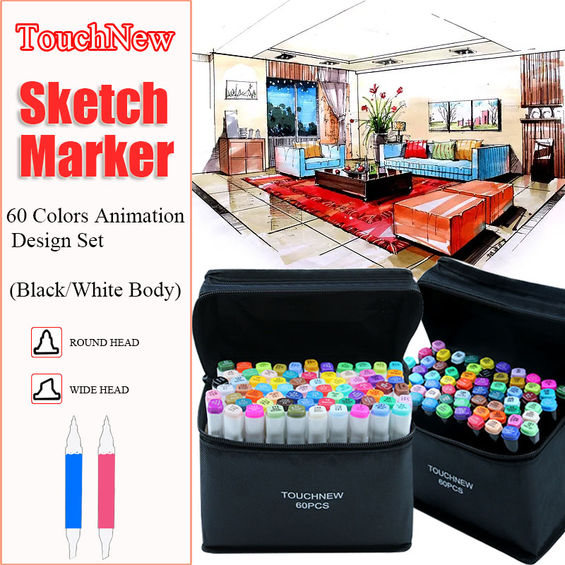 TouchNew 60 Colors Dual Headed Sketching Markers Alcoholic Oily based Artistic Brushes Drawing Markers Manga Design Art SupplierTouchNew 60 Colors Dual Headed Sketching Markers Alcoholic Oily based Artistic Brushes Drawing Markers Manga Design Art Supplier