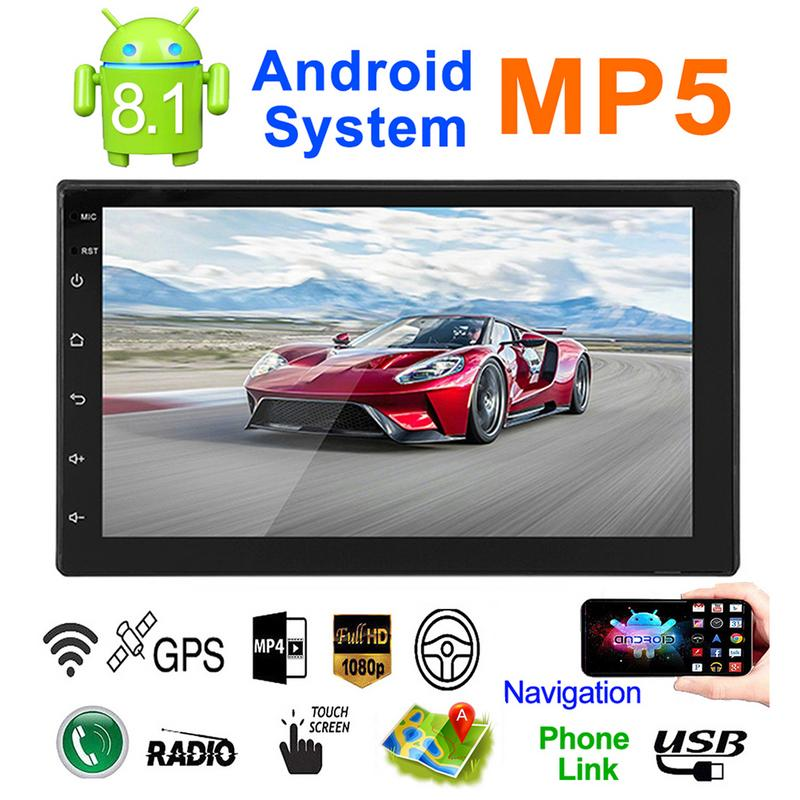 Ultra thin 7 inch 2DIN Android 8.1 Car Multimedia Player GPS Navigator FM/AM Radio WIFI Bluetooth Calls Dual USB Universal DC12V-in Car MP4 & MP5 Players from Automobiles & Motorcycles    1