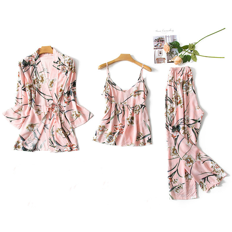 2019 Women Pajamas Sets 3 Pieces Thin Spaghetti Strap Cotton Sleepwear Flower Print Loose Pyjama Home Clothing Pijama