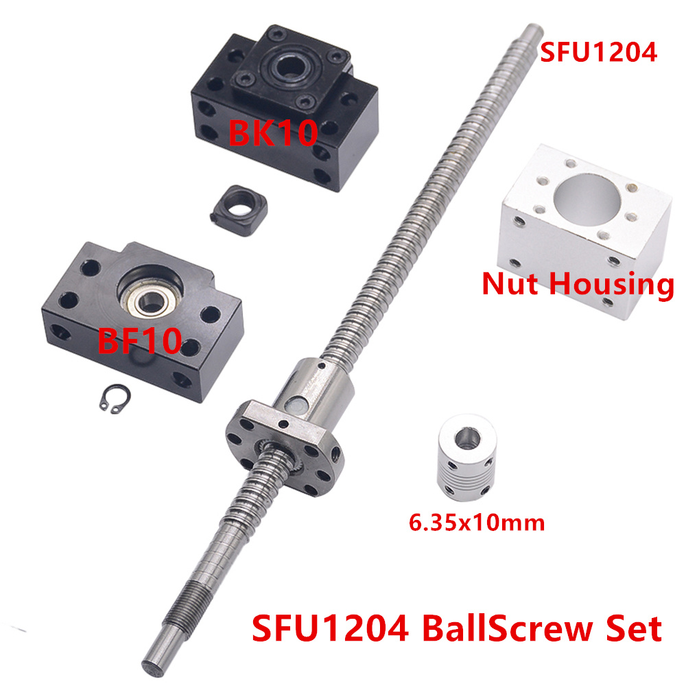 SFU1204 Rolled Ball Screw C7 With End Machined 250mm~1000 mm + Coupler RM1204 + 1 Ballnut Housing + 1 Set BK10/BF10 End SupportSFU1204 Rolled Ball Screw C7 With End Machined 250mm~1000 mm + Coupler RM1204 + 1 Ballnut Housing + 1 Set BK10/BF10 End Support