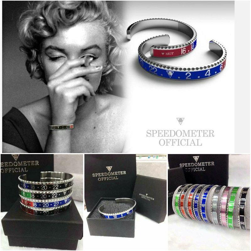Dial Steel Speedometer Bracelets & Bangles bracciale uomo Stainless Steel Bangles Cuff Bangle Bezel Pulseiras Bijoux Jewelry