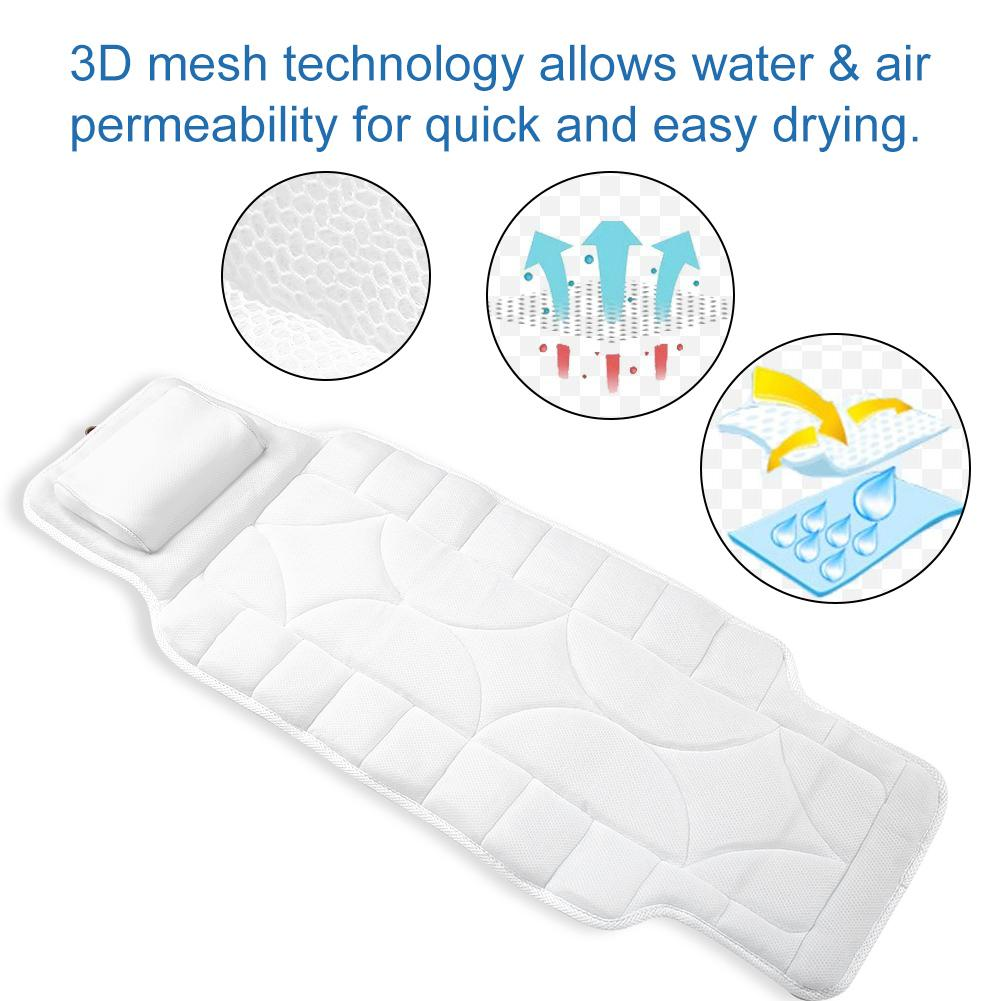 Bath Tool Full Body SPA Bath Pillow Mat With 10 Suction Cups Bathtub Mat For Supporting  Neck Spine