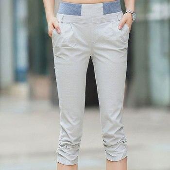 Plus Size Women Summer Casual Calf-Length Skinny Pants Ladies High Waist Harem Capris Elastic Cotton Linen Trousers Pants & Capris