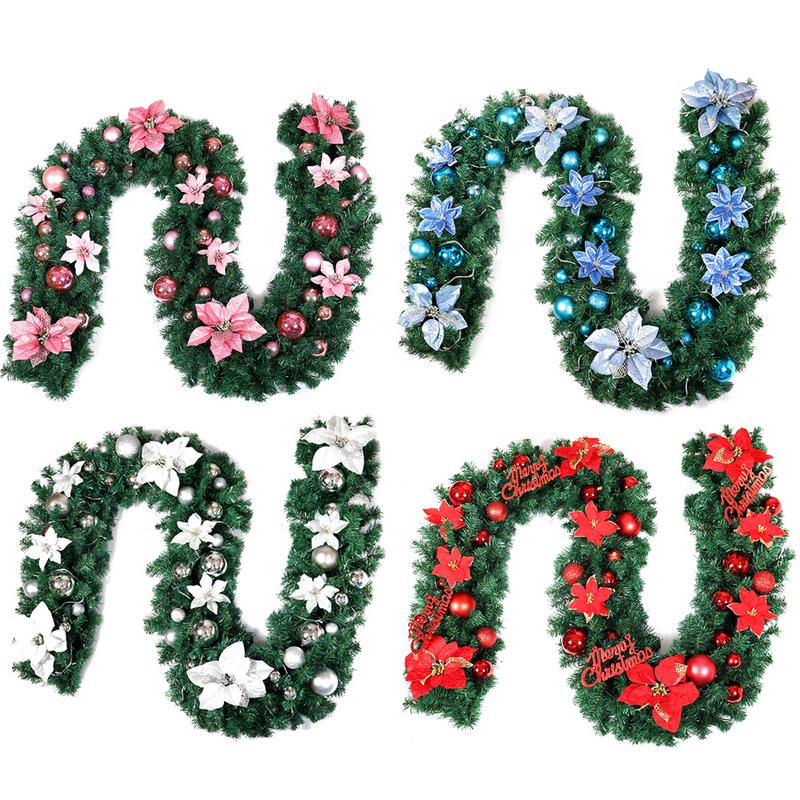 2.7M Christmas Garland Christmas Rattan Wreath With Balls Xmas Decoration Supplies New Year Natal Navidad Ornaments For Home