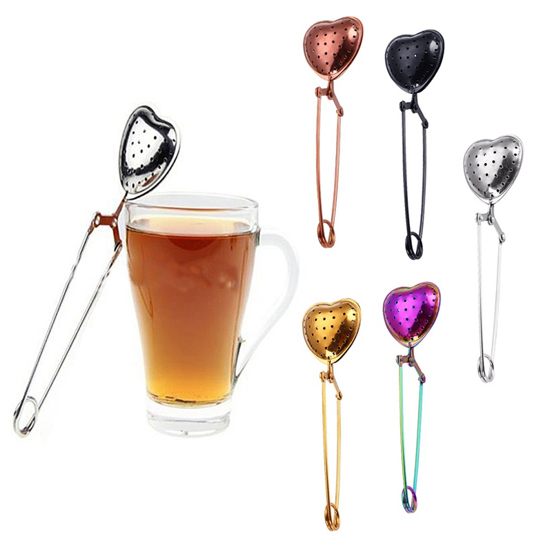 opening promotion creative heart shaped vacuum titanium plated stainless steel telescopic tea ball tea filter seasoning ball f in Tea Strainers from Home Garden