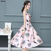 2018 New Cute Women Dress Floral Print Sleeveless Summer Casual O-neck Party Dresses Vestido Xnxee