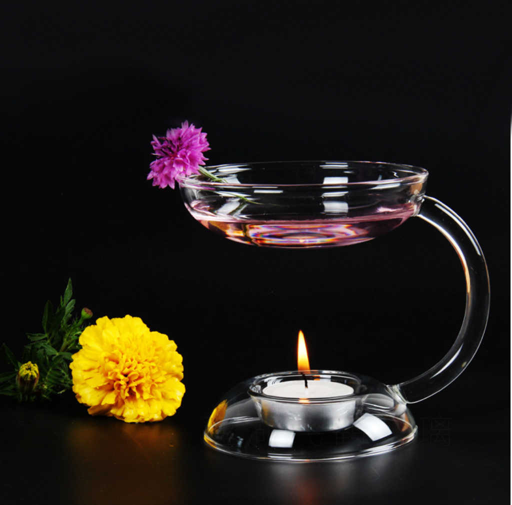 Glass Candlestick Candle Tea Light Holder Aroma Diffuser Burner Stand Cones Burner Incense Censer Transparent Holder