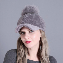 IANLAN Winter Womens Peaked Caps Hats with Fox Fur Pom Casual Ladies Full-pelt Sheep Shearing Cap Cotton Lined IL00341