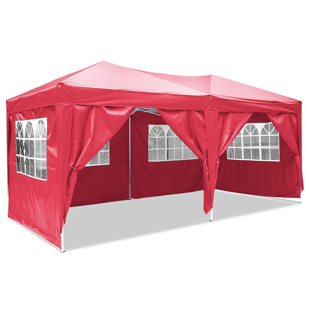 ANCHEER Folding Party Tent with Side Panel Tent for Garden Wedding Aluminum Tube Support in Tents from Sports Entertainment