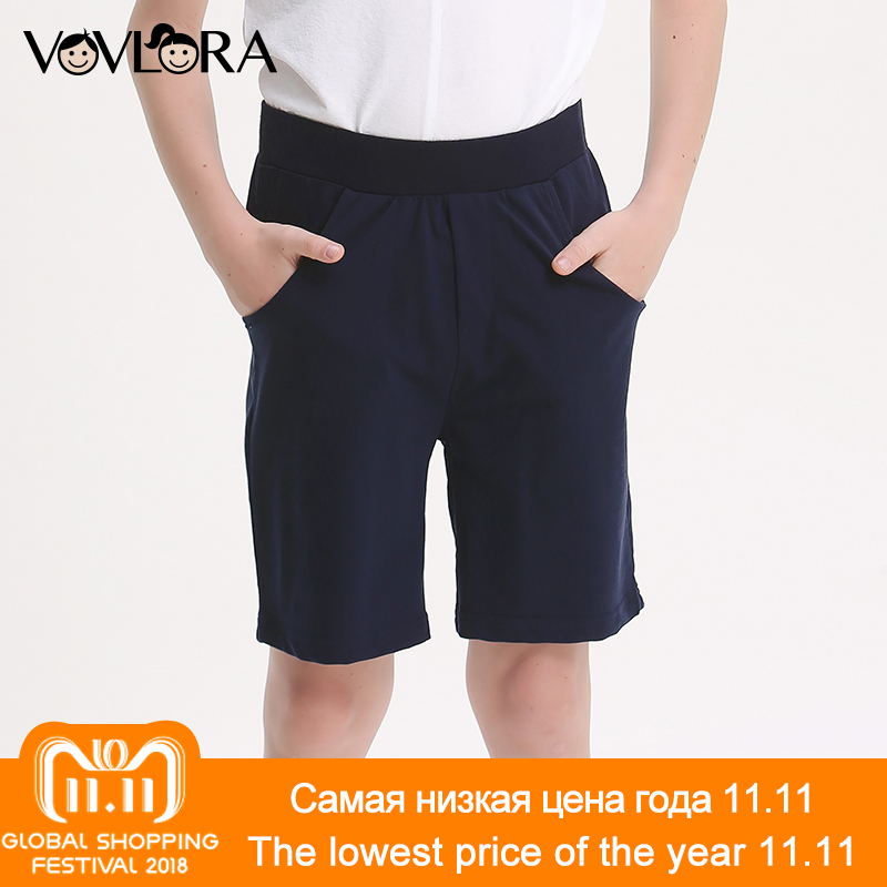 Boys Shorts Sport Summer Cotton Kids Shorts Pants Elastic Waist Solid Loose Children Clothes 2018 Size 7 8 9 10 11 12 13 14 Year